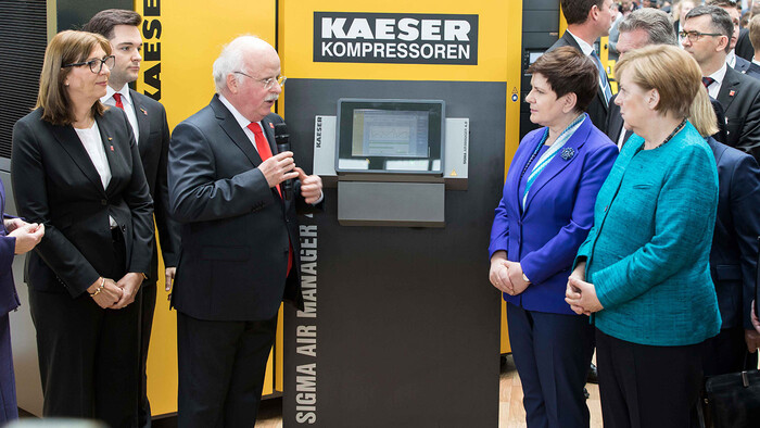 German Chancellor Angela Merkel and Polish Prime Minister Beata Szydlo paid a visit to Kaeser Kompressoren's trade fair stand at Hannover Messe 2017.